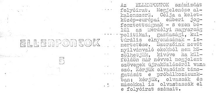 ellenpontok - erdélyi szamizdat lap